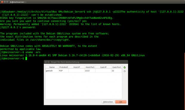 Nach erfolgreicher Installation lässt sich Debian in der virtuellen Maschine per SSH steuern. (Screenshot: Jörg Thoma)