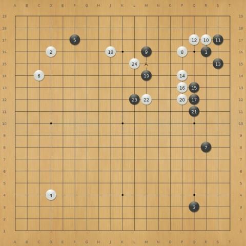 Lee Sedol (schwarz) gegen Alpha Go (Weiß), Zug 24 (Screenshot: Frank Wunderlich-Pfeiffer)