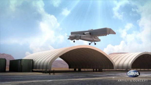 Das VTOL X-Plane stellt die Flügel senkrecht zum Starten und zum Schweben. (Bild: Darpa)