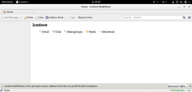 Als Mailclient kommt derzeit noch Icedove zum Einsatz. (Screenshot Golem.de)