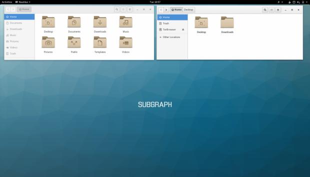 Zweimal Nautilus, einmal in der Sandbox (r.) einmal außerhalb (l.) (Screenshot: Golem.de)