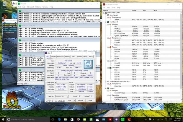 In Prime95 samt Furmark fällt die CPU nur 100 MHz unter Basistakt. (Screenshot: Robert Kern/Golem.de)