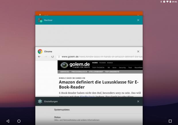 Die Liste der laufenden Apps kann in der Developer Preview 2 von Android N jetzt bequem gelöscht werden. (Screenshot: Golem.de)