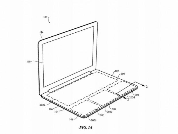 Apples Idee eines tastaturlosen Macbooks, festgehalten in einem neuen Patentantrag (Bild: Apple/USPTO)