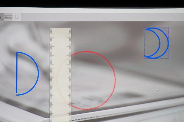 Diese Kreise hat Microsoft vorgemalt - und zwar mit einem Stift und einem Finger als zentralem Definitionspunkt. (Foto: Andreas Sebayang/Golem.de)