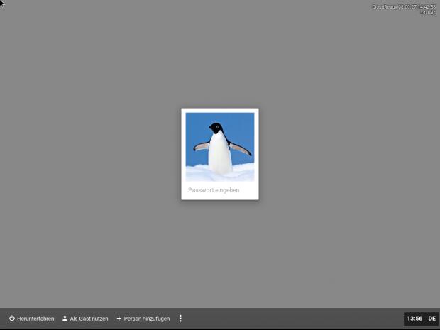 Der Anmeldebildschirm von Cloudready verrät bereits, dass Chromium OS als Basis dient. (Screenshot: Jörg Thoma)