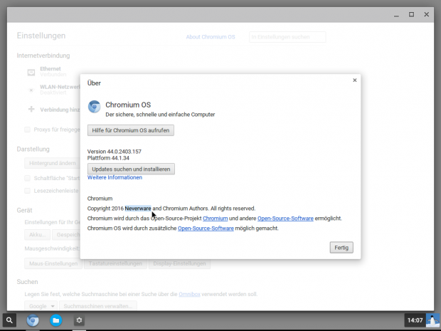 Lediglich ein kleiner Eintrag weist darauf hin, dass Neverware Chromium OS angepasst hat. (Screenshot: Jörg Thoma)