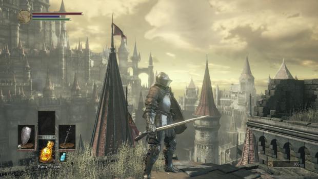 """Mit unserem Ritter stehen wir über den Dächer einer """"mittelalterlichen"""" Stadt. (Screenshot: Golem.de)"""