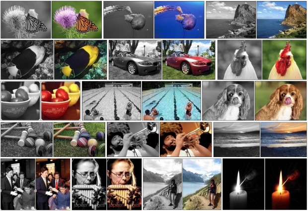Eine Auswahl der per neuronalem Netzwerk kolorierten Bilder (Bild: Richard Zhang/University of California Berkeley)