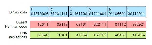 Übersetzung binärer Informationen in DNA per Huffman-Kodierung (Bild: Microsoft Research)