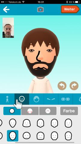 Anhand eines Fotos, mit der Kamera oder Freestyle erstellen wir in Miitomo unseren Avatar. (Screenshot: Golem.de)