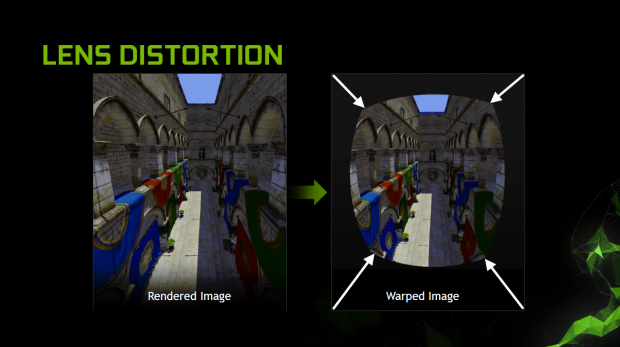 Bei VR wird ein Lens Warp verwendet. (Bild: Nvidia)