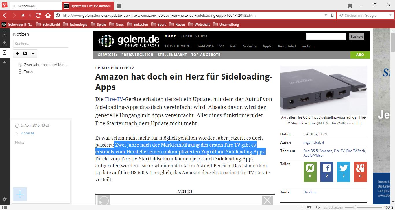 Vivaldi 1.0 im Test: Der gelungene Opera-Nachfolger - Vivaldi kann Notizen zu Webseiten speichern. (Screenshot: Golem.de)