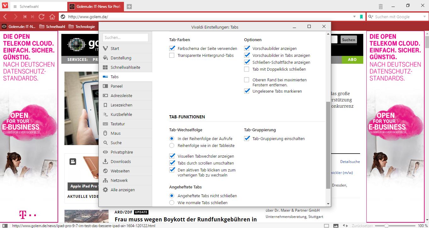 Vivaldi 1.0 im Test: Der gelungene Opera-Nachfolger - ... sind sehr umfangreich. (Screenshot: Golem.de)