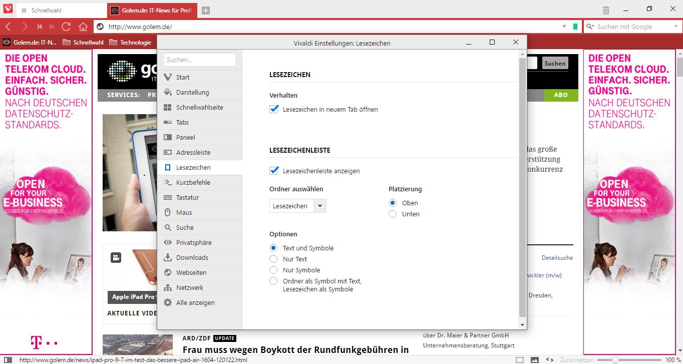 Vivaldi 1.0 im Test: Der gelungene Opera-Nachfolger - Auch die Lesezeichenleiste kann oben oder unten untergebracht werden. (Screenshot: Golem.de)