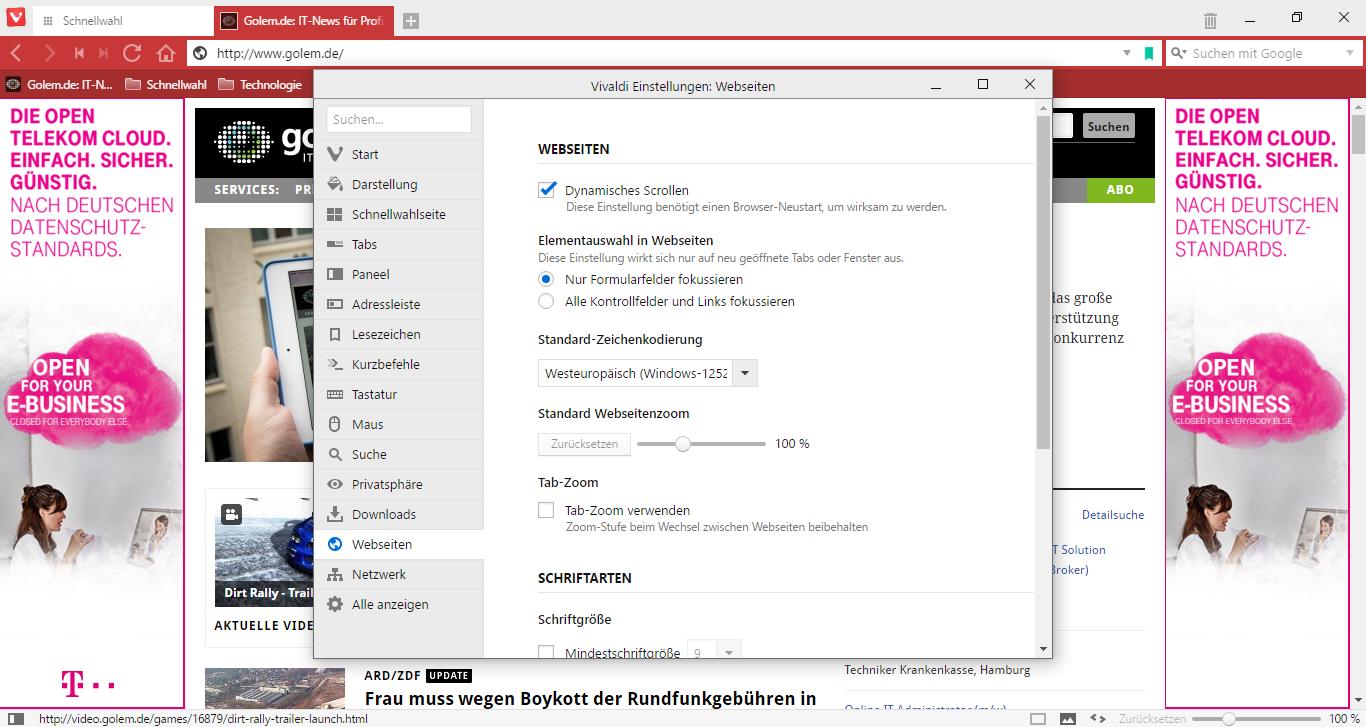 Vivaldi 1.0 im Test: Der gelungene Opera-Nachfolger - Webseiten-Einstellungen in Vivaldi (Screenshot: Golem.de)
