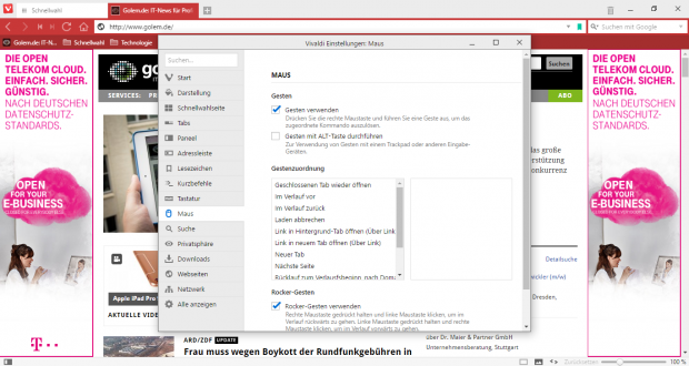 Auch mit Mausgesten lässt sich der Browser bedienen. (Screenshot: Golem.de)