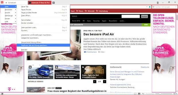 Vivaldi unterstützt Browser-Sitzungen. (Screenshot: Golem.de)