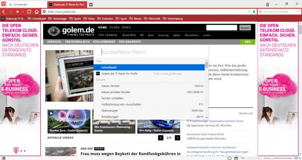 Mit Hilfe von Kurzbefehlen können auch Browser-Funktionen aufgerufen werden. (Screenshot: Golem.de)