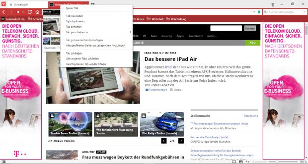 Via Kontextmenü steht eine Reihe von Tab-Funktionen zur Verfügung. (Screenshot: Golem.de)
