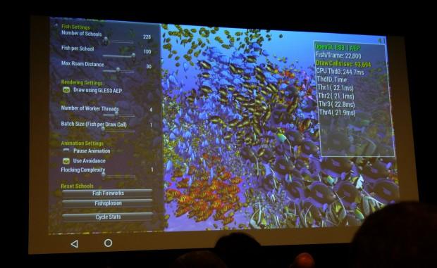 Fish-Demo mit OpenGL ES 3.1 AEP (Foto: Marc Sauter/Golem.de)