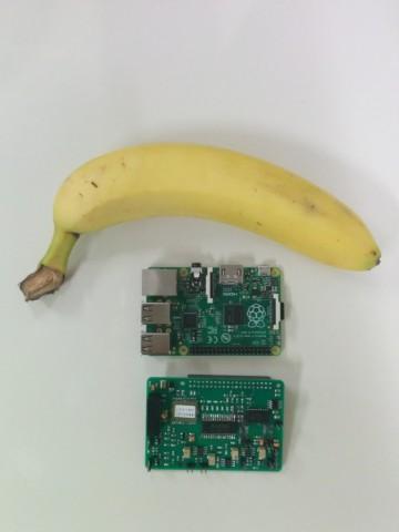 Die Cosmic-Pi-Platine (unten) im Vergleich mit dem Raspberry Pi und einer Banane (Foto: Cosmic Pi)