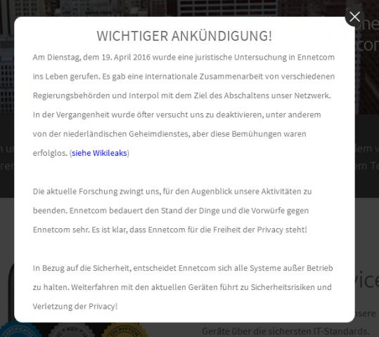 Die Warnung von Ennetcom (Screenshot: Golem.de)