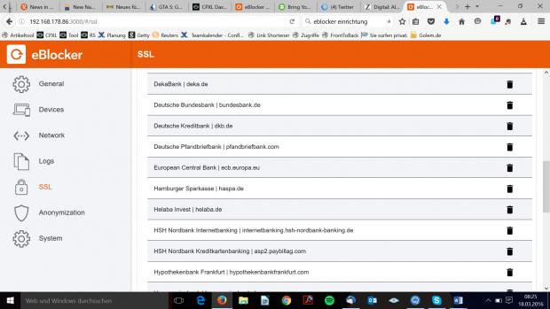 Die Konfiguration des Eblocker (Screenshot: Hauke Gierow/Golem.de)