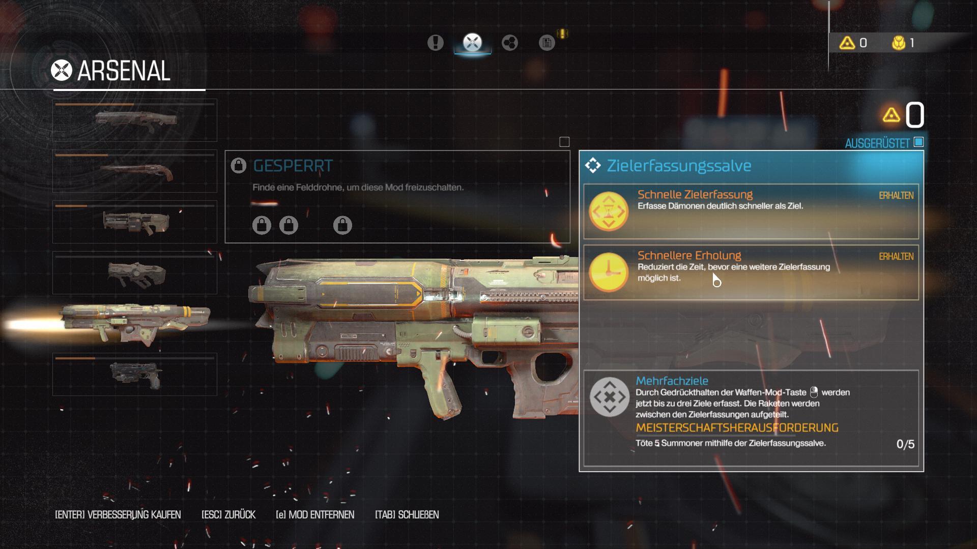 Doom im Test: Die beste blöde Ballerorgie - Auch die Waffen lassen sich im Verlauf der Kampagne verbessern. (Screenshot: Golem.de)