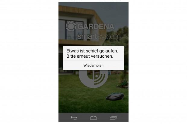 Gibt es Probleme mit der Internetverbindung, geht beim Gardena Smart Garden gar nichts mehr. (Screenshot: Golem.de)