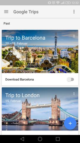 Die Reiseübersicht von Trips zeigt auch vergangene Reisen an. (Screenshot: Golem.de)