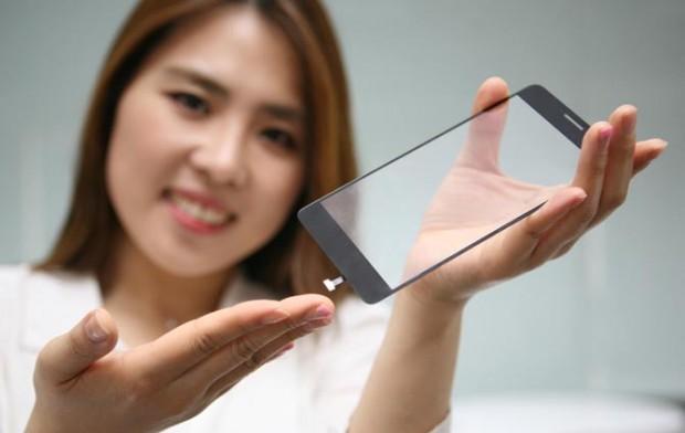 Der neue Fingerabdrucksensor von LG Innotek - montiert auf der Unterseite eines Displayglases (Bild: LG Innotek)