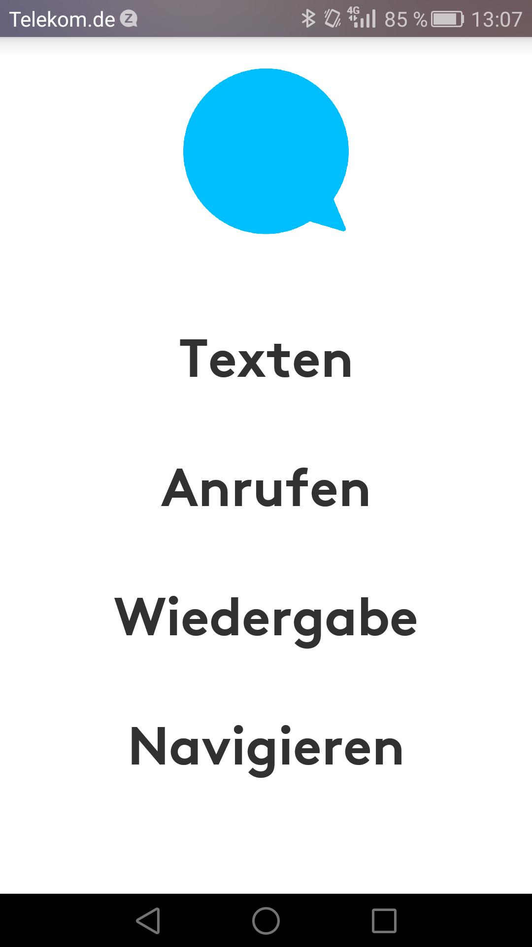 Zerotouch im Hands on: Logitechs Smartphone-Halterung fürs Auto fehlt etwas - Vier Hautpfunktionen deckt die Zerotouch-App ab. (Screenshot: Golem.de)