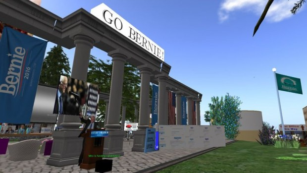 Der Pavillon von Bernie Sanders in Second Life (Screenshot: Zeit Online)