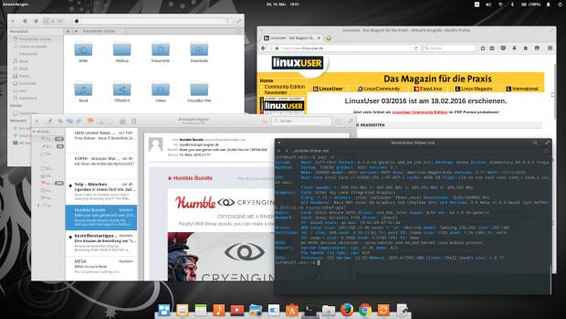 Elementary OS strickt aus vielen Bestandteilen aus Gnome, zahlreichen eigenen Programmen und der Optik und Bedienungsweise von Mac OS X einen modernen Desktop. (Bild: Christoph Langner / Linux User)