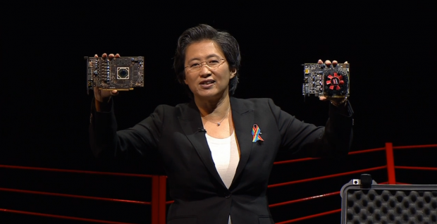 Lisa Su zeigt die RX 470 und RX 460 (Bild: PC Gaming Show)