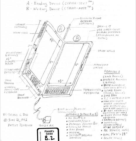 Konzeptzeichnung aus dem Patent von Thomas S. Ross (Quelle: Klageschrift von Thomas S. Ross)