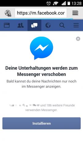Facebooks deutscher Hinweis auf die Veränderung bei der Nachrichtenfunktion (Screenshot: Jens Z.)
