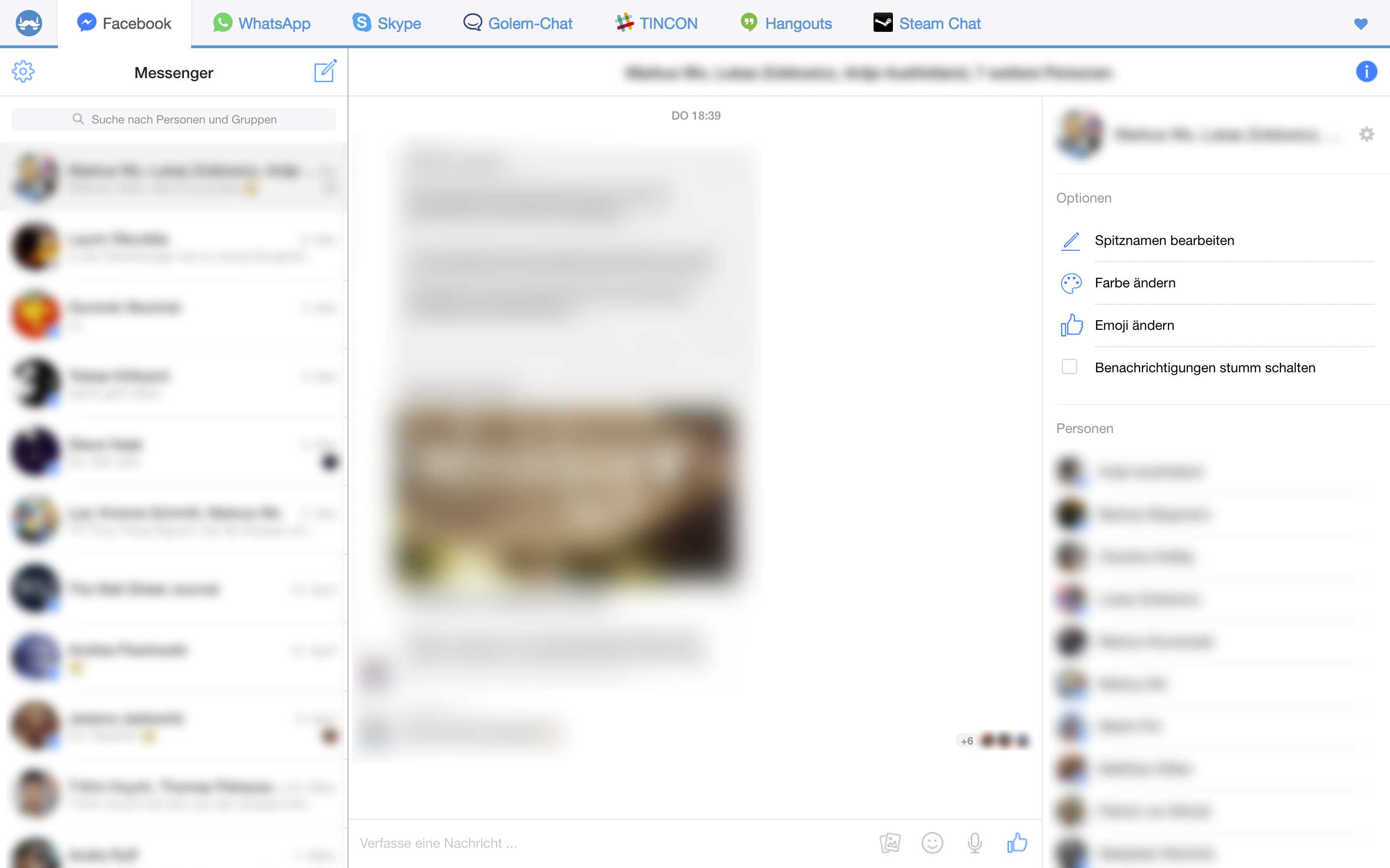 Messenger-Apps: Franz, das Kommunikationsgenie - Facebook Messenger im Franz-Messenger (Screenshot: Golem.de)