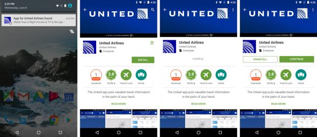 Google Nearby schlägt die United-App für Inflight-Entertainment vor. (Bild: Google)