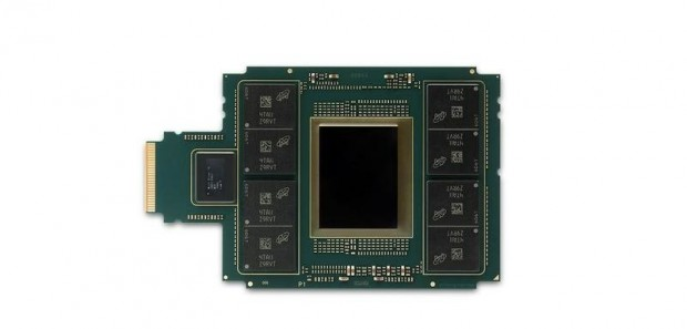 Um den Chip herum sitzen acht HMC-Stacks (Bild: Intel)