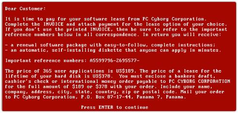 Die Erpresserbotschaft des AIDS-Information-Trojan (Bild: F-Secure).