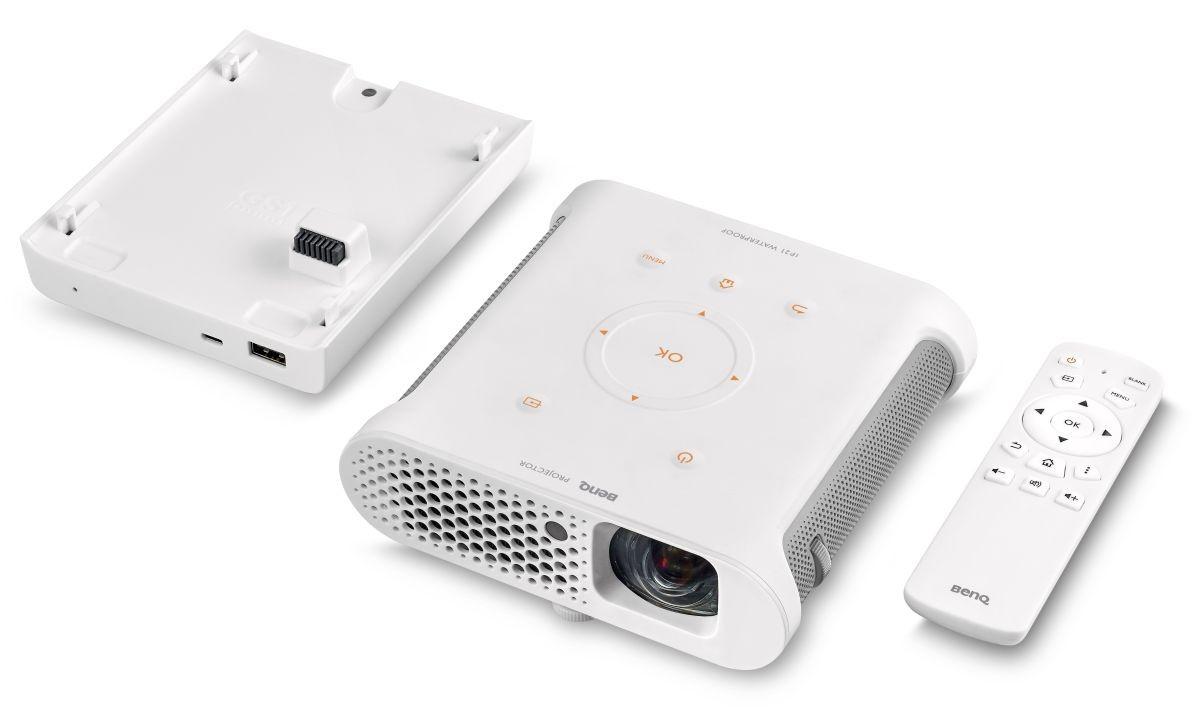 Benq GS1: LED-Beamer für den Campingeinsatz - Benq GS1 mit Akku und Fernbedienung (Bild: BenQ)