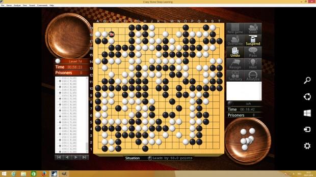 Ein Spiel auf der höchsten Stufe mit 9 Handicapsteinen. Gegen den großen Vorsprung fand der Computer keinen Weg, ausreichend Punkte zu gewinnen.