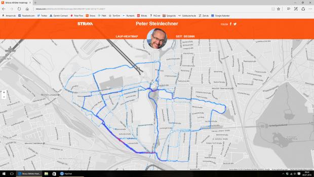 Strava erzeugt auf Basis der Sportdaten eine Heatmap - allerdings nur für Premiumkunden. (Screenshot: Golem.de)