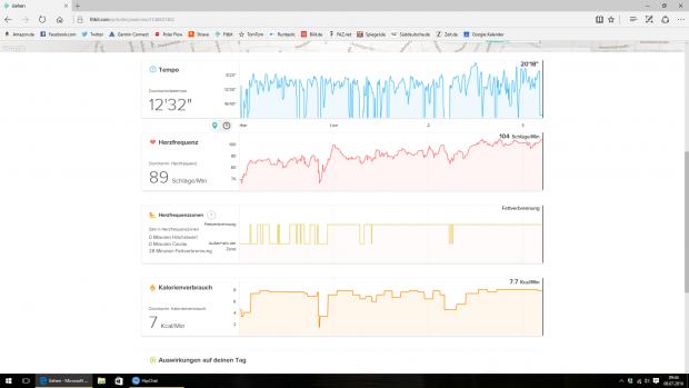 Bei den Statistiken zeigt Fitbit eigentlich dreimal die gleichen Daten in unterschiedlichen Formaten an - überflüssig. (Screenshot: Golem.de)
