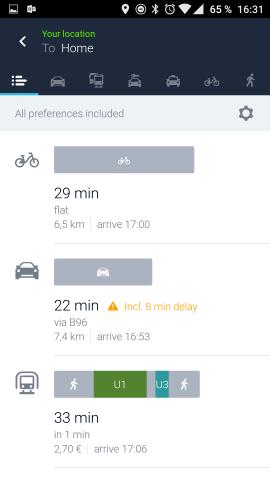Here WeGo zeigt wie gewohnt bei der Routennavigation als Fortbewegungsmittel das Auto, das Fahrrad und öffentliche Nahverkehrsmittel an. (Screenshot: Golem.de)