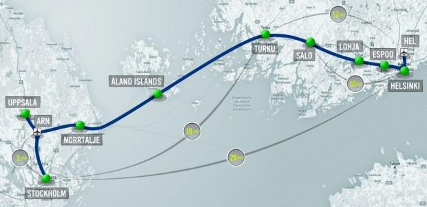 Die Hyperloop-Verbindung würde von Helsinki über Marienhamn auf den Åland-Inseln nach Stockholm reichen. (Bild: FS Links)