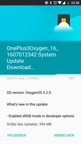 Das Changelog des Updates (Screenshot: Golem.de)