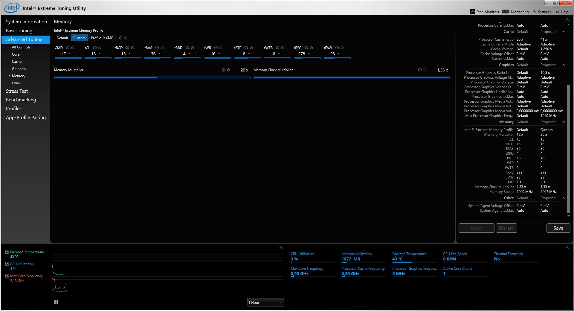 Core i7-6820HK: Das bringt CPU-Overclocking im Notebook - Der RAM verkraftet DDR4-2666 bei 1T (Screenshot: Marc Sauter/Golem.de)